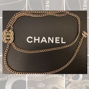 AuthCHANEL CC Logo Charm Chain Long Belt Gold-Tone